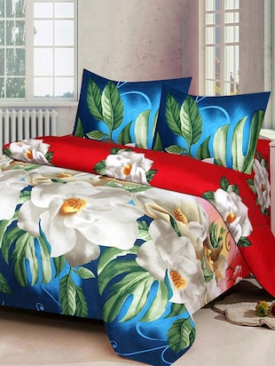 PolyCotton Double Bedsheet With 2 Pillow Covers - 15013978 - Standard Image - 1