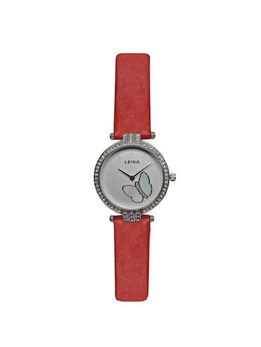 JM New Leina Style L1 Silver Dial Red Leather Belt Watch - 15013990 - Standard Image - 1