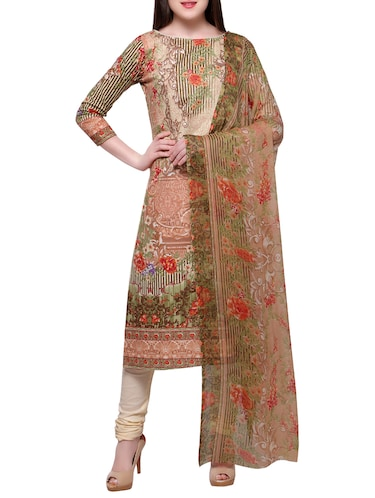Cream churidaar suits unstitched suit - 15014061 - Standard Image - 1