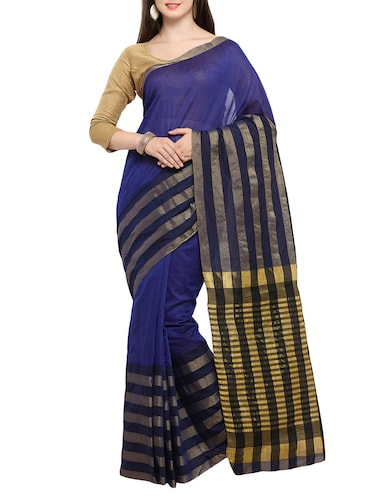 blue cotton silk woven saree with blouse - 15014382 - Standard Image - 1