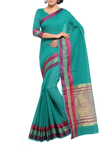 turquoise cotton silk bordered saree with blouse - 15014402 - Standard Image - 1