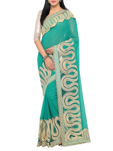 turquoise georgette embroidered saree with blouse - 15014449 - Standard Image - 1