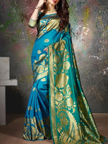 turquoise cotton silk woven saree with blouse - 15014451 - Standard Image - 1