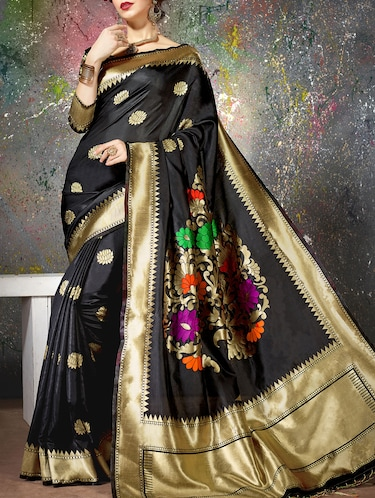 black cotton silk woven saree with blouse - 15014454 - Standard Image - 1