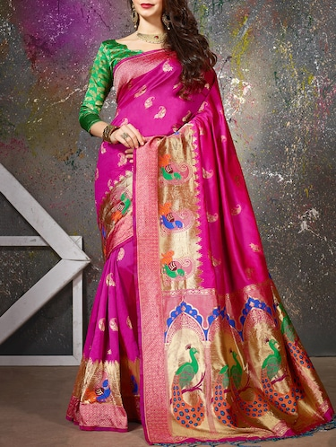pink cotton silk woven saree with blouse - 15014455 - Standard Image - 1