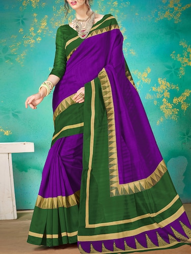 purple silk blend printed saree with blouse - 15014510 - Standard Image - 1