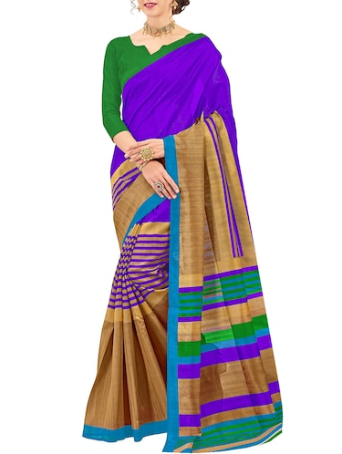 purple cotton silk printed saree with blouse - 15014539 - Standard Image - 1
