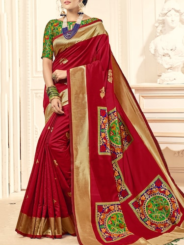 red silk printed saree with blouse - 15014575 - Standard Image - 1