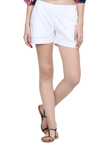 solid white cotton shorts - 15014654 - Standard Image - 1