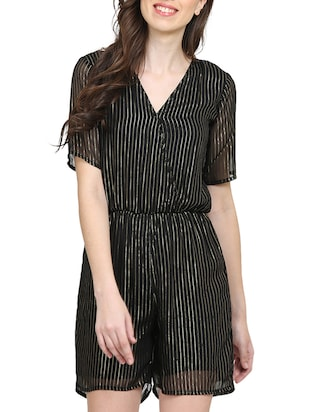 black striped romper jumpsuit - 15015530 - Standard Image - 1