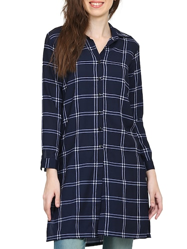 navy blue checkered tunic - 15015536 - Standard Image - 1