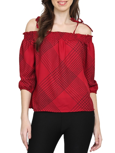 red checkered cold shoulder top - 15015543 - Standard Image - 1