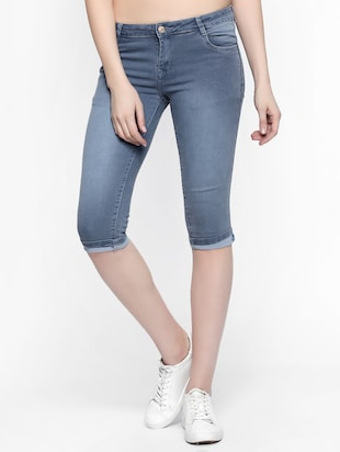 grey stone wash denim capri - 15015591 - Standard Image - 1