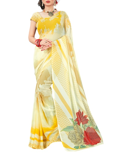beige georgette printed saree with blouse - 15015841 - Standard Image - 1