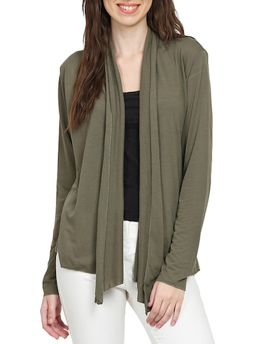 solid green viscose shrug - 15015847 - Standard Image - 1