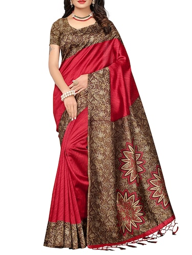 maroon mysore silk saree with blouse - 15015880 - Standard Image - 1