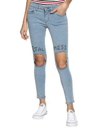 blue distressed denim jeans - 15015901 - Standard Image - 1
