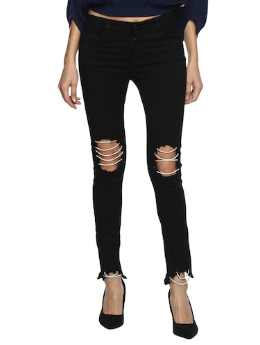 black distressed denim jeans - 15015905 - Standard Image - 1