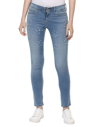 light blue embellished denim jeans - 15015922 - Standard Image - 1