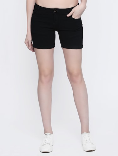 black denim shorts - 15015928 - Standard Image - 1