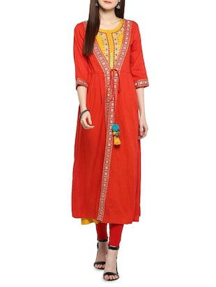 red cotton embroidered layered kurta - 15015977 - Standard Image - 1
