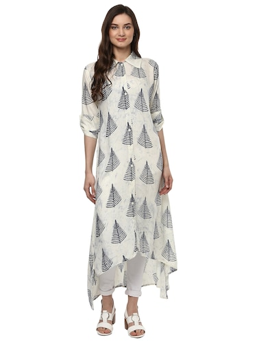 Shirt collor high-low kurta - 15016037 - Standard Image - 1