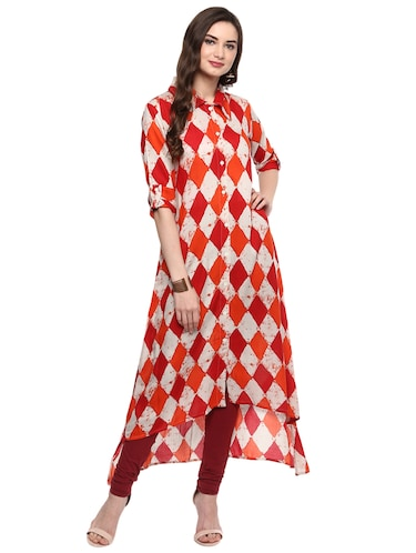 Geometrical high-low kurta - 15016045 - Standard Image - 1