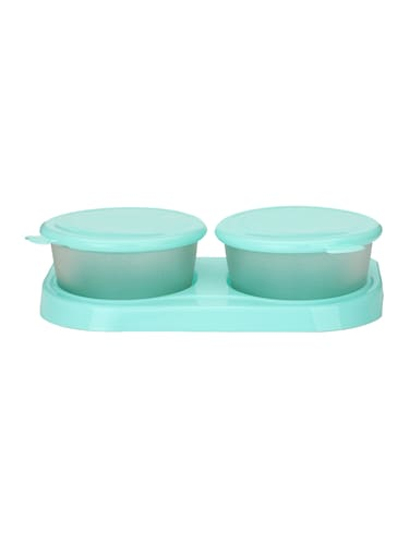 Transparent Glass Container Set With Colorful Plastic Lid & Easy To Carry Tray (Set 2+1) - 15016233 - Standard Image - 1