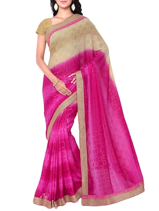 pink georgette printed saree with blouse - 15016754 - Standard Image - 1