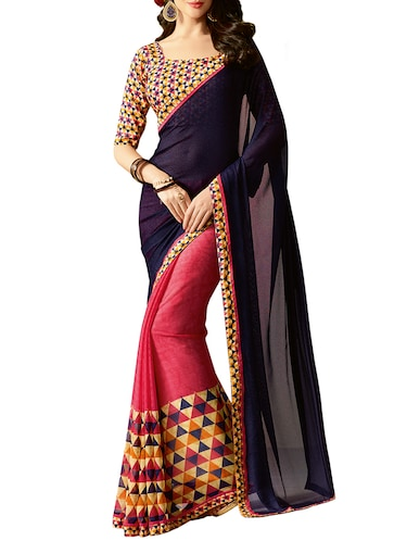 blue georgette half & half saree with blouse - 15016766 - Standard Image - 1