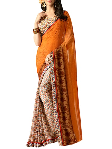 mustard georgette half & half saree with blouse - 15016768 - Standard Image - 1