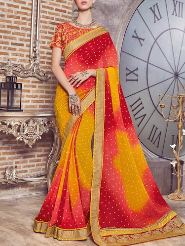 mustard georgette bandhani saree with blouse - 15016773 - Standard Image - 1