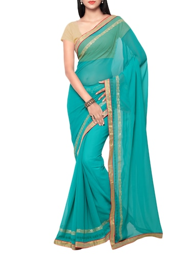 blue georgette bordered saree with blouse - 15016798 - Standard Image - 1