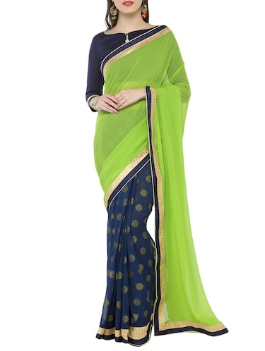 green georgette half & half saree with blouse - 15016800 - Standard Image - 1