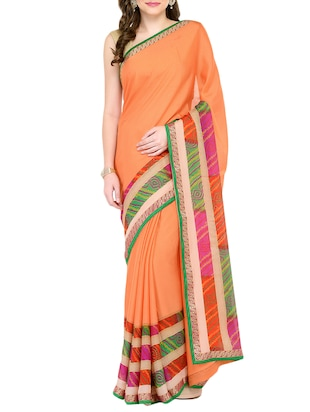 peach georgette bordered saree with blouse - 15016832 - Standard Image - 1