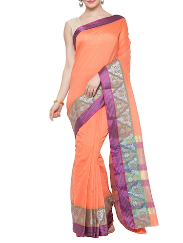 peach cotton silk bordered saree with blouse - 15016833 - Standard Image - 1