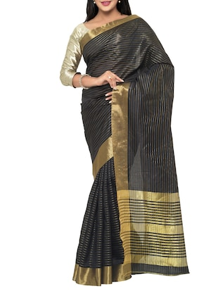 black cotton silk woven saree with blouse - 15016850 - Standard Image - 1