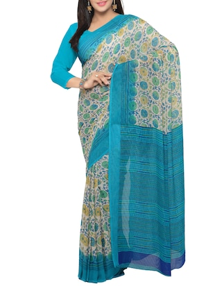 sky blue georgette printed saree with blouse - 15016883 - Standard Image - 1