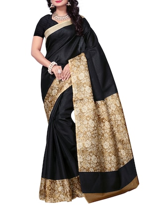 Floral bordered saree with blouse - 15016963 - Standard Image - 1