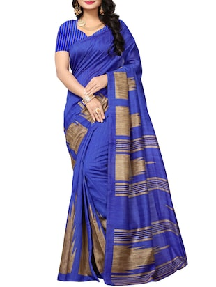 blue art silk printed saree with blouse - 15016986 - Standard Image - 1