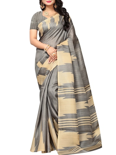 Temple bordered saree with blouse - 15016990 - Standard Image - 1
