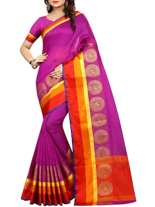 Contrast bordered bhagalpuri saree with blouse - 15016996 - Standard Image - 1