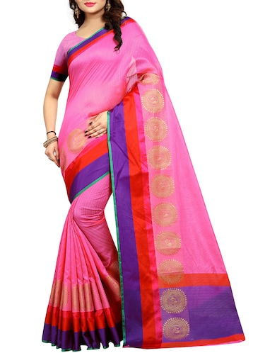 Contrast bordered bhagalpuri saree with blouse - 15016997 - Standard Image - 1
