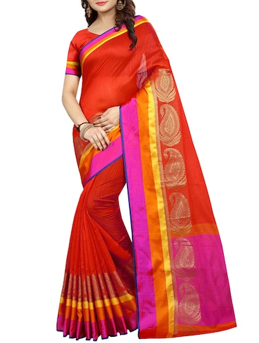 Contrast bordered bhagalpuri saree with blouse - 15016999 - Standard Image - 1
