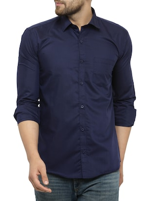 navy blue cotton casual shirt - 15017335 - Standard Image - 1
