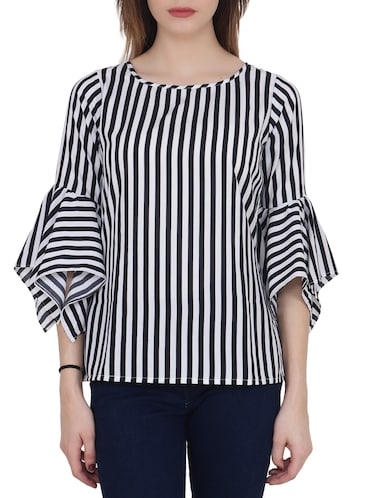 black striped crepe top - 15017361 - Standard Image - 1