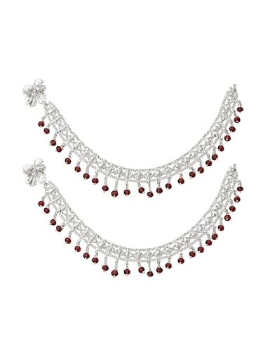 silver metal anklets and payal - 15017486 - Standard Image - 1