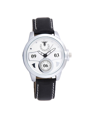 Traktime New Edge White Toned Round Dial Wrist Watch for Men /Women with Black Leather Strap - 15017840 - Standard Image - 1