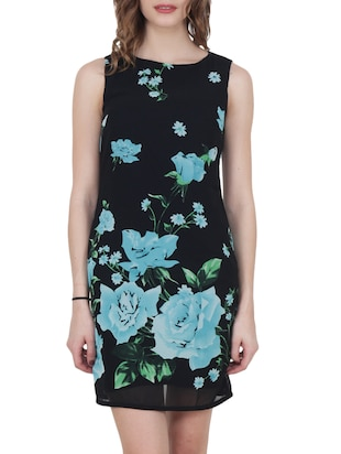 black floral georgette sheath dress - 15017960 - Standard Image - 1
