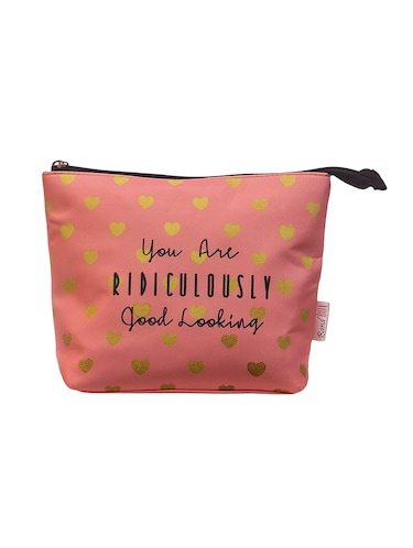 pink satin printed pouch - 15018566 - Standard Image - 1